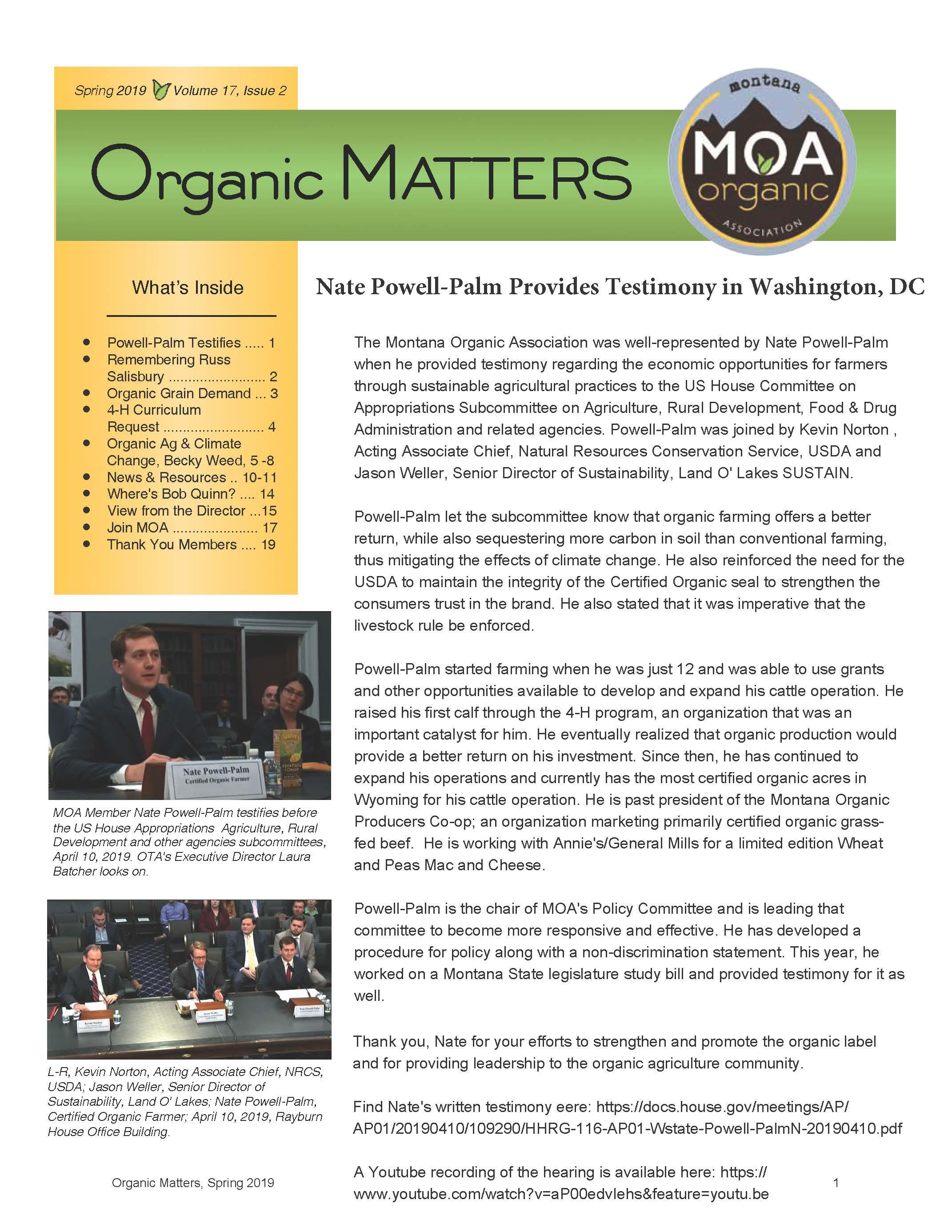 Organic Matters Spring 2019